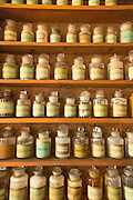 Detail of pharmaceuticals displayed in II Redentore's Pharmacy on the island of Giudecca, Venice, Italy, Europe