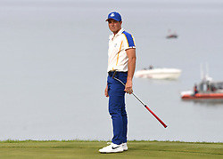 Team Europe's Viktor Hovland lines up a shot on the 17th green during day three of the 43rd Ryder Cup at Whistling Straits, Wisconsin. Picture date: Sunday September 26, 2021.