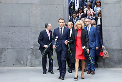 French President Emmanuel Macron and First Lady Brigitte Macron visit the Tsitsernakaberd Armenian Genocide Memorial in Yerevan, Armenia on October 11, 2018. Photo by Ludovic Marin/Pool/ABACAPRESS.COM