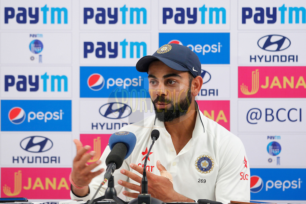 Virat Kohli Captain of India addressing the press conference during day 5 of the fourth test match between India and England held at the Wankhede Stadium, Mumbai on the 12th December 2016.<br /> <br /> Photo by: Deepak Malik/ BCCI/ SPORTZPICS
