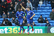 Callum Paterson of Cardiff city (18) celebrates after he scores his teams 1st goal. EFL Skybet championship match, Cardiff city v Sunderland at the Cardiff city stadium in Cardiff, South Wales on Saturday 13th January 2018.<br /> pic by Andrew Orchard, Andrew Orchard sports photography.