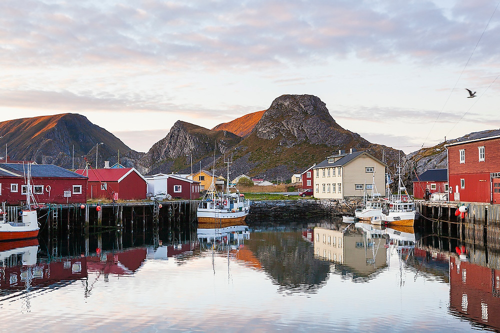 The commercial fishing port in Sorland at sunset, Vaeroy Island, Lofoten Islands, Norway.