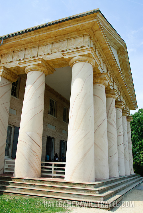 Arlington House, also known as the Robert E. Lee House, on the hill overlooking Arlington Cemetery toward Washington DC