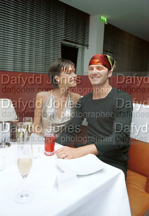 Posh Spice & David Beckham.Jade Jagger party. St. Martin's Hotel, London. 20/9/99.  © Copyright Photograph by Dafydd Jones 66 Stockwell Park Rd. London SW9 0DA  Tel 0171 733 0108
