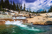 Cascade on the Tuolumne River under Unicorn Peak, Tuolumne Meadows, Yosemite National Park, California USA