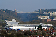 General view outside looking across Ashton Gate Stadium towards the Clifton Suspension Bridge during the The FA Cup 5th round match between Bristol City and Wolverhampton Wanderers at Ashton Gate, Bristol, England on 17 February 2019.