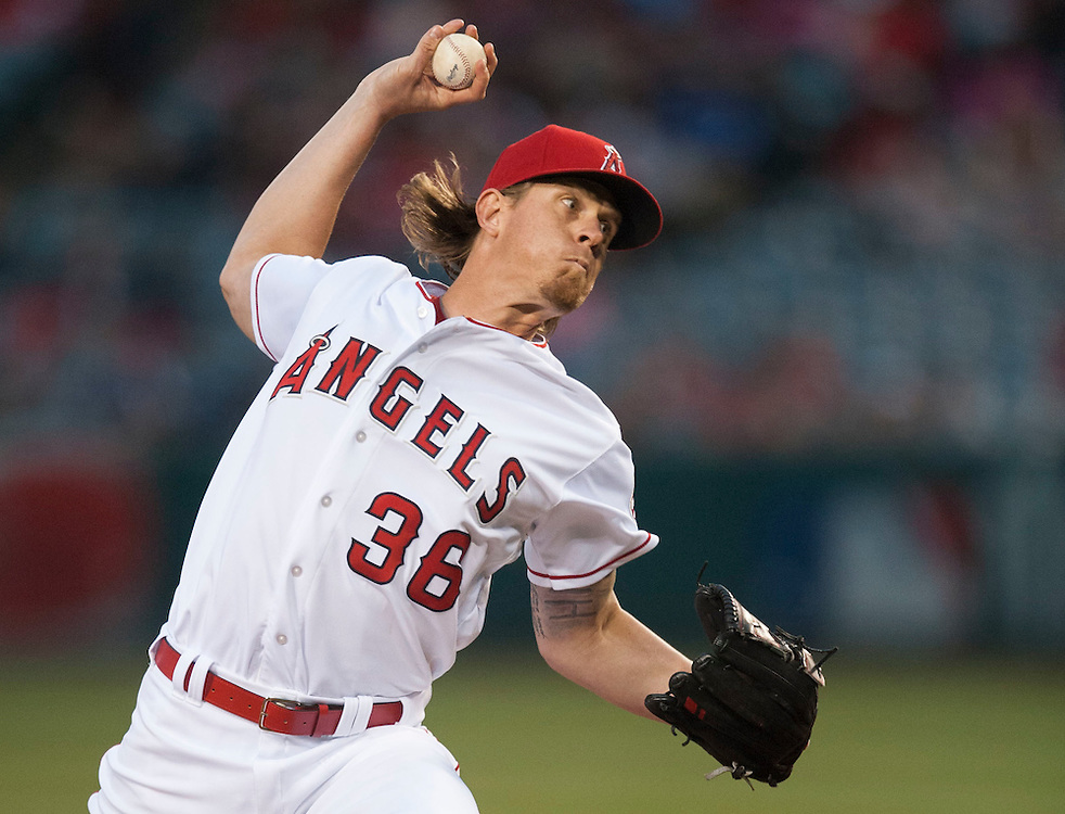 Angels starter Jered Weaver pitches against the Houston Astros Saturday at Angel Stadium.<br /> <br /> ///ADDITIONAL INFO:   <br /> <br /> angels.0529.kjs  ---  Photo by KEVIN SULLIVAN / Orange County Register  -- 5/28/16<br /> <br /> The Los Angeles Angels take on the Houston Astros Saturday at Angel Stadium.