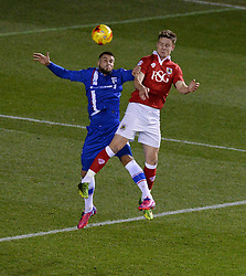 Bristol City's Matt Smith wins a high ball over Gillingham's Kortney Hause - Photo mandatory by-line: Alex James/JMP - Mobile: 07966 386802 - 29/01/2015 - SPORT - Football - Bristol - Ashton Gate - Bristol City v Gillingham - Johnstone Paint Trophy Southern area final