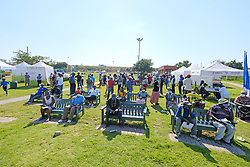 JOHANNESBURG, SOUTH AFRICA - MAY 08: A  Diepsloot COVID-19 screening and testing site at Diepsloot Sarafina Park on May 08, 2020 in Johannesburg, South Africa. Reports claim that in Diepsloot more than 12 000 people have been screened with over 1000 people tested. The Premier urged the people of Diepsloot to continue practicing safety measures including social distancing and wearing cloth masks when leaving home. (Photo by Dino Lloyd)
