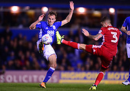 Marc Roberts of Birmingham city (l) battles with Joe Bennett of Cardiff City  .EFL Skybet championship match, Birmingham city v Cardiff city at St.Andrew's stadium in Birmingham, the Midlands on Friday 13th October 2017.<br /> pic by Bradley Collyer, Andrew Orchard sports photography.
