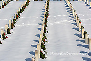 65095-03110 Wreaths on graves in winter Jefferson Barracks National Cemetery St. Louis,  MO