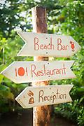 Hotel sign on Little Corn Island in Nicaragua