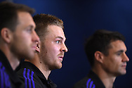 Sam Cane of New Zealand (c) talks to the media.Rugby World Cup 2015 , New Zealand Allblacks player media session at the Hilton Hotel in Cardiff , South Wales on Monday 28th September 2015. The Allblacks are in Cardiff preparing for their next pool match against Georgia on Friday night.<br /> pic by  Andrew Orchard, Andrew Orchard sports photography.