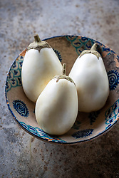 Aubergine 'Snowy' - egg plant. Solanum melongena