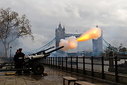 © Licensed to London News Pictures. 06/02/2019. London, UK.  The Honourable Artillery Company (HAC) stage a 62 gun salute at the Tower of London, in front of Tower Bridge to mark the anniversary of Her Majesty the Queen's accession to the throne..  Photo credit: Vickie Flores/LNP