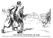 """How Militant Suffragettes are Made. Caddie (to visitor). """"That's the old green to this 'ole, sir. It gets flooded, so they've give it to the lydies!"""""""