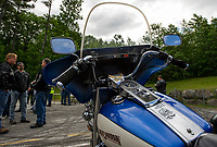 "This 1978 FLH shovel head sits at the front of the line for Thursday's ""Ride to the Sky"" from Laconia Harley in Meredith.  (Karen Bobotas/for the Laconia Daily Sun)"