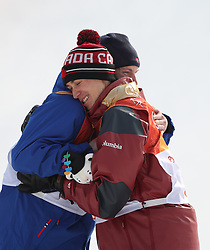 PYEONGCHANG, Feb. 18, 2018  Gold medalist Oystein Braaten of Norway (L) and bronze medalist Alex Beaulieu-Marchand of Canada hug each other after the men's ski slopestyle of freestyle skiing at the 2018 PyeongChang Winter Olympic Games, at Phoenix Snow Park, South Korea, on Feb. 18, 2018. (Credit Image: © Wu Zhuang/Xinhua via ZUMA Wire)