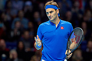 Roger Federer of Switzerland questions a line call during the Nitto ATP World Tour Finals at the O2 Arena, London, United Kingdom on 13 November 2018.Photo by Martin Cole