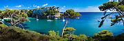 Panorama of boats moored in Cala'n Galdana on the island of Menorca