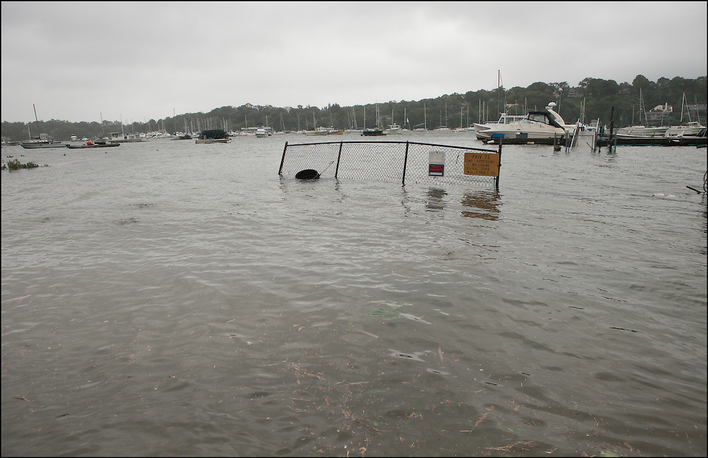 Hurricane Irene pushed waters from the Long Island Sound into Huntington Bay, New York creating the area to experience minor flooding.