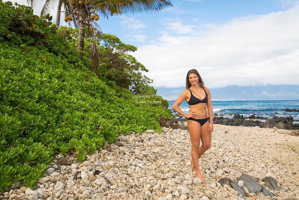 Olympic skier Julia Mancuso on the beach near her home on the island of Maui, Hawaii