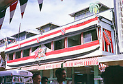 Independence Day, 31 August 1962, Port of Spain, Trinidad and Tobago, West Indies shop on Frederick Street decorated