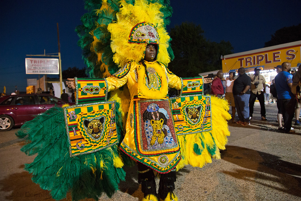 Wild Tchoupitoulas Mardi Gras Indian Tonya Johnson, A resdient of Baton Rouge at a vigil for Alton Sterling outside of the  Triple S Food Store on May 2, 2017<br />  hte night news broke that the DOJ would not charge the officers that involved in the Alton Sterling shooting, resulting in Sterling being killed at close range.