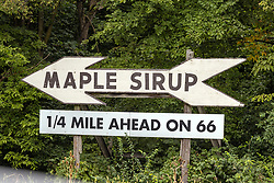 Hostoric Maple Syrup sign on Historic Route 66 the mother road at Funks Grove Illinois