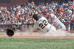 June 3, 2018 - San Francisco, CA, U.S. - SAN FRANCISCO, CA - JUNE 03: San Francisco Giants Right field Andrew McCutchen (22) is thrown out in a collision at the plate during the MLB game between the Philadelphia Phillies and San Francisco Giants on June 3, 2018, at AT&T Park in San Francisco, CA. (Photo by Bob Kupbens/Icon Sportswire) (Credit Image: © Bob Kupbens/Icon SMI via ZUMA Press)