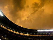 Clouds rise above Target Field in Minneapolis, Minnesota after a heavy storm that included hail during a game between the Minnesota Twins and Detroit Tigers on May 10, 2011.