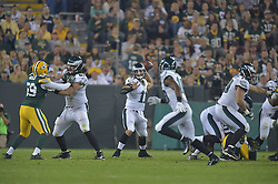 Tim Tebow #11 of the Philadelphia Eagles against the Green Bay Packers at Lambeau Field on August 29, 2015 in Green Bay, Pennsylvania. The Eagles won 39-26. (Photo by Drew Hallowell/Philadelphia Eagles)