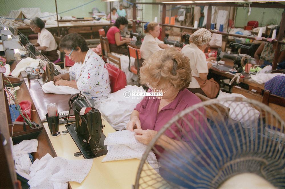 Women working in clothes factory in Havana; Cuba,