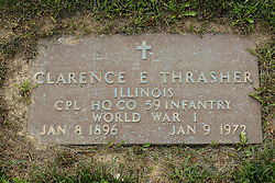 31 August 2017:   Veterans graves in Park Hill Cemetery in eastern McLean County.<br /> <br /> Clarence E Thrasher  Illinois Corporal HQ Co 59 Infantry  World War I  Jan 8 1896  Jan 9 1972