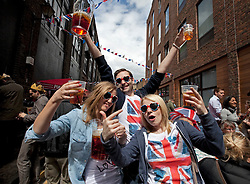 © Licensed to London News Pictures. 04/06/2012. London, England. .A traditional East End street party celebrating the Diamond Jubilee in the Spitalfields area of London..The Royal Jubilee celebrations. Great Britain is celebrating the 60th  anniversary of the countries Monarch HRH Queen Elizabeth II accession to the throne this weekend Photo credit : RICH BOWEN/LNP