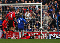 Photo. Javier Garcia<br />22/02/2003 Chelsea v Blackburn, FA Barclaycard Premiership, Stamford Bridge<br />Blackburn's Vratislav Gresko brilliantly clears off the line from Jimmy Floyd Hasselbaink
