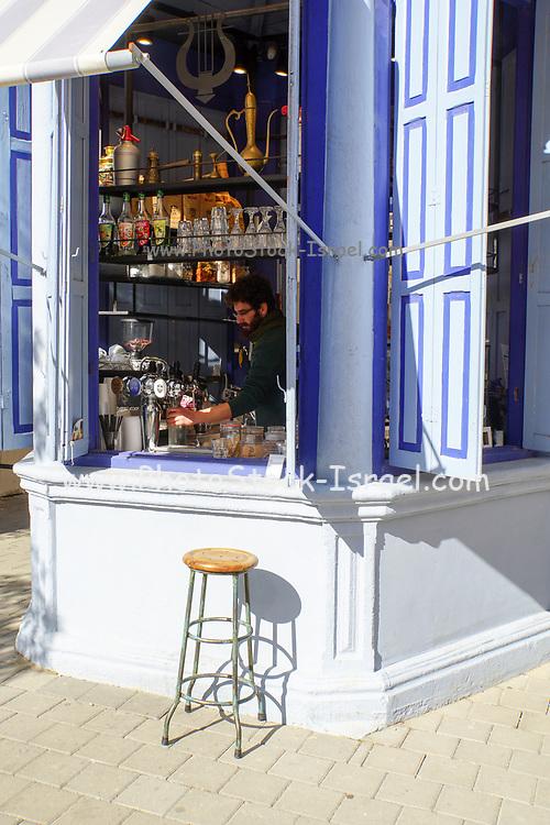 A food and drink Kiosk in Rothschild Boulevard (Herzl Corner), Tel Aviv, Israel