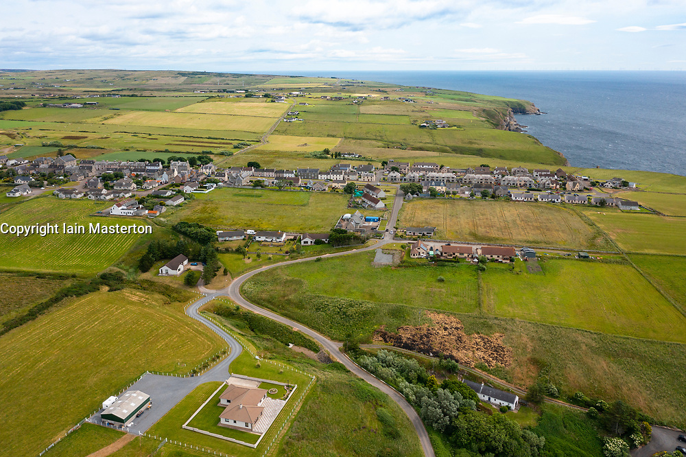 Aerial view from drone of  Lybster village on coast of Caithness, Scotland, UK