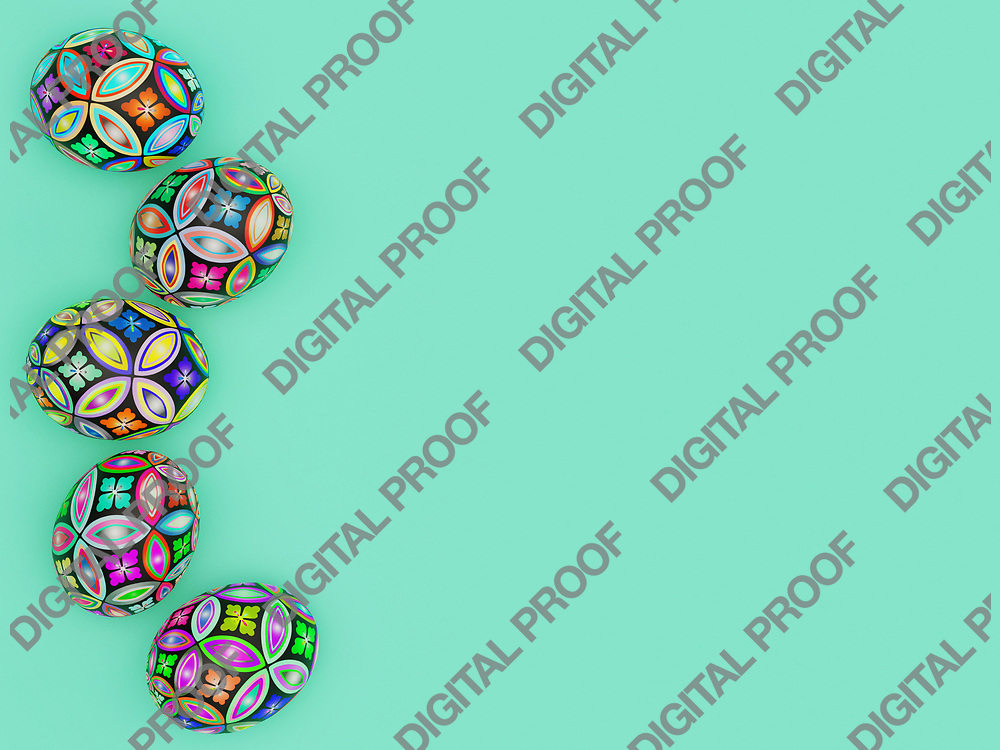 Easter Eggs with beautiful pattern and color viewed from above - 3D Rendering Concept