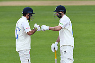 David Bedington and Ned Eckersley of Durham during the LV= Insurance County Championship match between Nottinghamshire County Cricket Club and Durham County Cricket Club at Trent Bridge, Nottingham, United Kingdom on 10 April 2021.