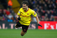 Daryl Janmat of Watford takes a dive.  The Emirates FA Cup, 3rd round match, Watford v Bristol City  at Vicarage Road in Watford, London on Saturday 6th January 2018.<br /> pic by Steffan Bowen, Andrew Orchard sports photography.