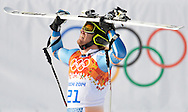 Norway's Kjetil Jansrud reacts after finishing his run during the men's Super G at the Sochi 2014 Winter Olympics on February 16, 2014 in Krasnaya Polyana, Russia. Jansrud won a gold medal in the event.  (UPI)