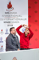 KELOWNA, BC - OCTOBER 25:  Canadian figure skater, Nam Nguyen awaits his score in the men's short program at Skate Canada International held at Prospera Place on October 25, 2019 in Kelowna, Canada. (Photo by Marissa Baecker/Shoot the Breeze)