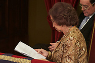 Queen Sofia of Spain attended the 'Princesa de Asturias Awards 2017 (Princess of Asturias awards)' ceremony at the Campoamor Theater on October 20, 2017 in Oviedo, Spain.