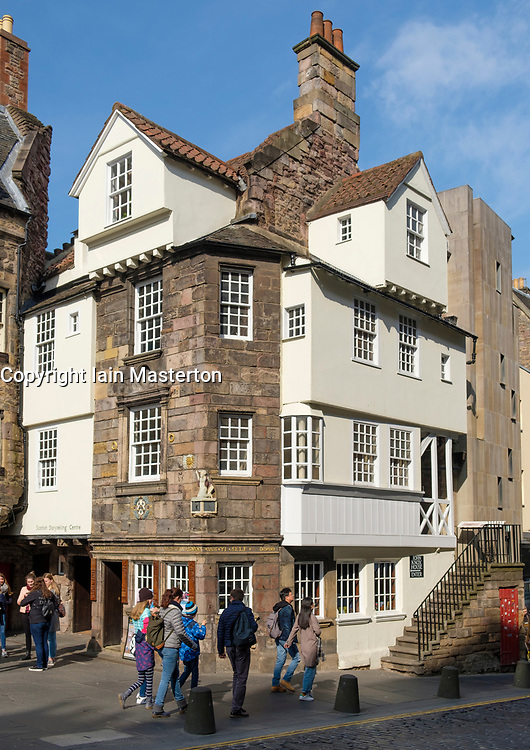 Exterior view of John Knox House on Royal Mile in Edinburgh Old Town, Scotland UK