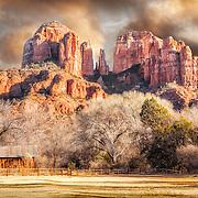 Sun setting on Cathedral Rock, Sedona Arizona.