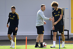 July 8, 2018 - Moscou, Russie - Thorgan Hazard midfielder of Belgium, Graeme Jones ass. coach of Belgian Team and Marouane Fellaini midfielder of Belgium (Credit Image: © Panoramic via ZUMA Press)