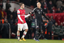19-02-2013 VOETBAL: CHAMPIONS LEAGUE FC ARSENAL - FC BAYERN MUNCHEN: LONDEN<br />  Lukas PODOLSKI (FC Arsenal London - 9) foult Arjen ROBBEN (FC Bayern Muenchen - 10)  during the UEFA Champions League last sixteen first leg match between Arsenal FC and FC Bayern Munich at the Emirates Stadium<br /> ***NETHERLANDS ONLY***<br /> ©2012-FotoHoogendoorn.nl