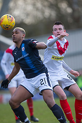 Raith Rovers Willis Furtado and Airdrie's Dean Cairns. half time : Raith Rovers 0 v 1 Airdrie, Scottish Football League Division One game played 10/2/2018 at Stark's Park, Kirkcaldy.