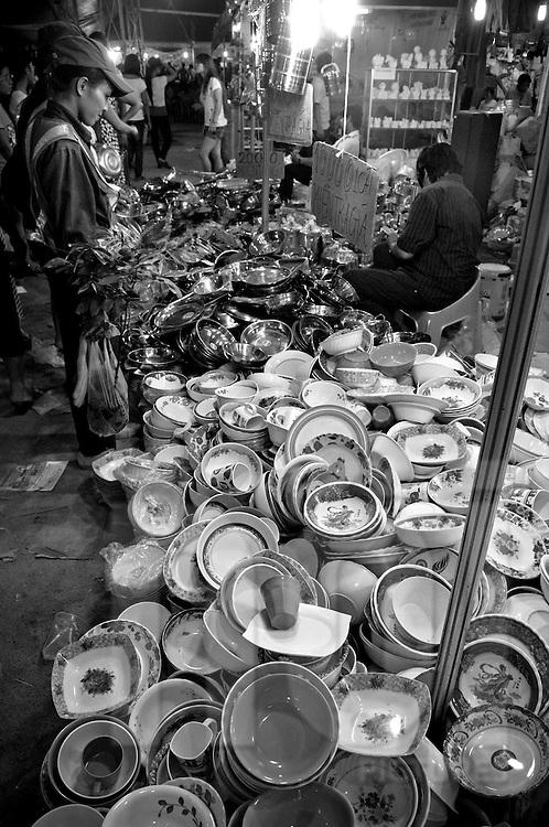 Crockery to sell on a funfair stall. Nha Trang, Vietnam, Asia